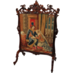 1860's American Rococo Rosewood Carved Firescreen ~ Carved Roses and Birds ~ Very Nice LARGE Size ~ Wonderful Old Needlepoint ~ Magnificent Piece of Fine Art ~ Collector Piece ~ Master Artistry