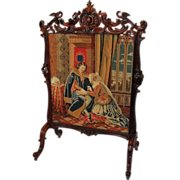 1860's American Rococo Rosewood Carved Firescreen ~ Carved Roses and Birds ~ Very Nice ...