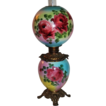 Wonderful Gone with the Wind Oil Lamp ~Breathtaking ROSES ~ Outstanding Fancy Ornate Font Spill Ring ~ Heirloom Treasure ~ Collector Piece