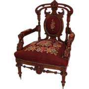 1870's American Renaissance Revival John Jelliff Walnut Arm Chair with Outstanding Original ..