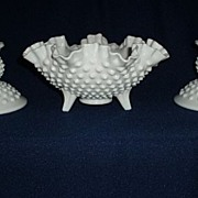 Fenton Milk Glass 3 Piece Console Set - Ruffles Bowl and 2 Candlesticks