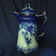Beautiful Flow Blue Chocolate Pot Labelle Pattern Excellent