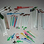 Large Collection Vintage Glass Swizzle Sticks Some Really Cool Ones!