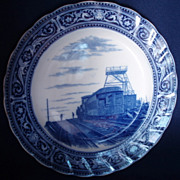 "Flow Blue Royal Doulton Pikes Peak 10"" Plate"