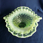 Gorgeous Fenton Vaseline Hobnail Ruffled and Fluted Candy Dish
