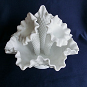 Adorable Fenton Milkglass Hobnail Apartment Size Epergne