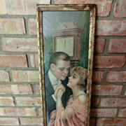 1915 Pompeian Yard Long Lithograph With Blond and Grandfather Clock