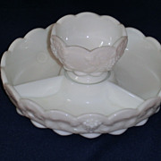 Westmoreland Milk Glass Paneled Grape Appetizer / Relish Set