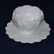 Westmoreland Paneled Grape Milk Glass Mayonnaise Set