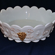 Westmoreland Paneled Grape Milk Glass Large Bowl 22K Gold Trim