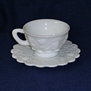 Westmoreland Paneled Grape Milk Glass Cup and Saucer Set