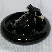 Monmouth Pottery Black Crow Flower Frog and Bowl Hard To Find