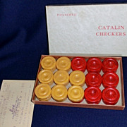 Bakelite - Catalin Red and Butterscotch Checkers Circa 1930's Unused