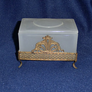 Pretty Opaline Glass Trinket Box Jewel Casket