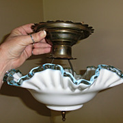 Gorgeous Fenton Aqua Crest Ceiling Light Fixture