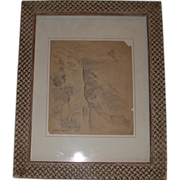 REDUCED Eugene Higgins (Listed Artist) Original Pencil Sketch, Double Signed,  Hillside Mounta