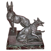 "REDUCED L. Carvin Sculpture,  German Shepherds (Alsatians) - ""Bonne Garde"""