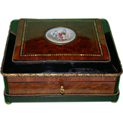 REDUCED 19th Century French Dresser Box with Handpainted Porcelain Miniature