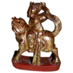 Antique Chinese Mythological Wood Carving, Warrior Riding Fantasy Animal To Battle, c. 19th century