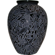 SOLD Rare Rene Lalique Museum Quality &quot;Martins Pecheurs&quot; Vase, Black