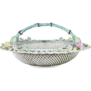 REDUCED Rare and Exquisite Belleek Round Basket Center Handle, No 564, Fermanagh, c 1955-1979