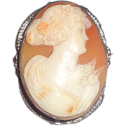 Antique Cameo, Huge and Beautiful, in An Unusual Bezel