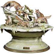 "SALE Borsato - ""Foxes Lair"" - Multi Figural Animal Group, Dramatic Realism; Signed,"