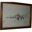 Vintage Drawing of a Landscape, signed by artist, Aharon Giladi. c 1982