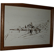REDUCED Vintage Drawing of a Landscape, signed by artist, Aharon Giladi. c 1982