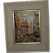 "REDUCED ""City Street Scene,"" Framed Original Oil On Board, Signed Gideon"