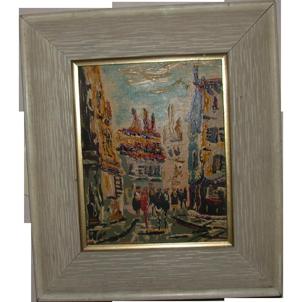 """""""City Street Scene,"""" Framed Original Oil On Board, Signed Gideon"""