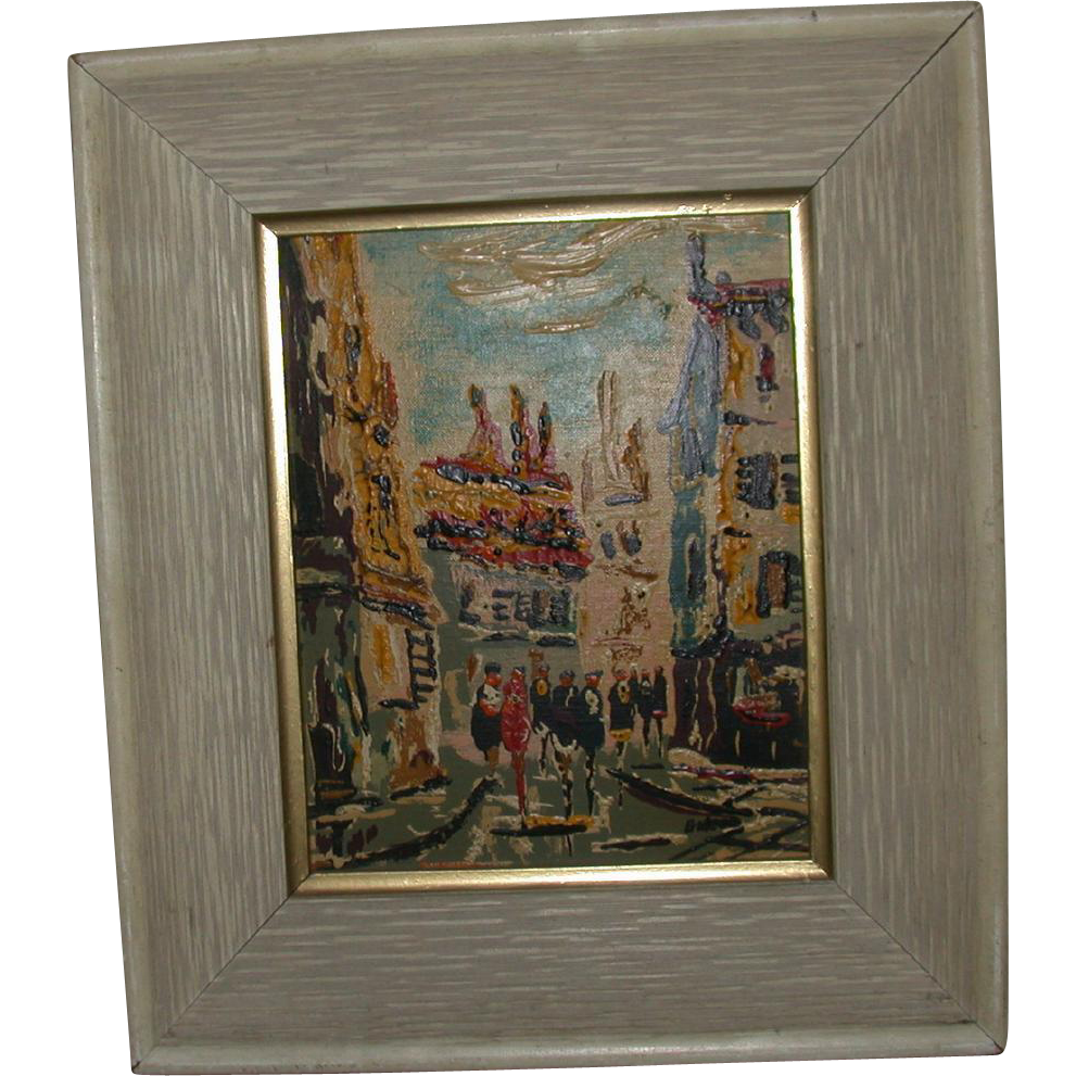 """City Street Scene,"" Framed Original Oil On Board, Signed Gideon"