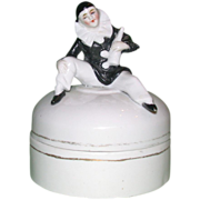 REDUCED Art Nouveau Dresser Box, With Pierrot Seated on the Lid Holding a Bottle