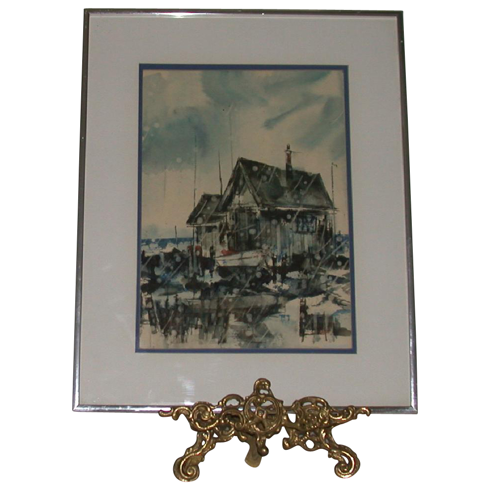 "Original Watercolor - ""Harbor"" - Signed by artist, Blicharski"