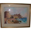 Original Watercolor - &quot;The Old Town, Antibes &quot; - Titled and Signed by artist, William Nelson, c 1986