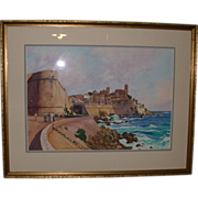 "Original Watercolor - ""The Old Town, Antibes "" - Titled and Signed by artist, Willia"
