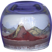 REDUCED Fascinating - Unusual - Colorful - Panorama of Mountains Sand Sculpture Paperweight