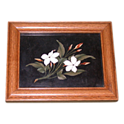 REDUCED Antique Pietra Dura - Two Flowers On a Branch - Beautiful Workmanship, late 19th Centu
