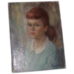 "REDUCED Original Oil on Canvas - ""Girl In Blue"" - by Roy Keister, (1886 - 1983)  Listed Artist"