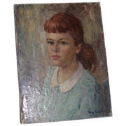 "REDUCED Original Oil on Canvas - ""Girl In Blue"" - by Roy Keister, (1886 - 1983)  Lis"