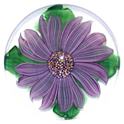 REDUCED Personally Signed By Steven Lundberg - Magnificent Vintage Amethyst Flower Paperweight