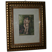 REDUCED Original 19th Century Watercolor - Adam And Eve Tempted By The Serpent, Signed