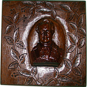 REDUCED Victorian Carved Oak Panel,  Portrait of Sir Walter Scott  in High Relief.