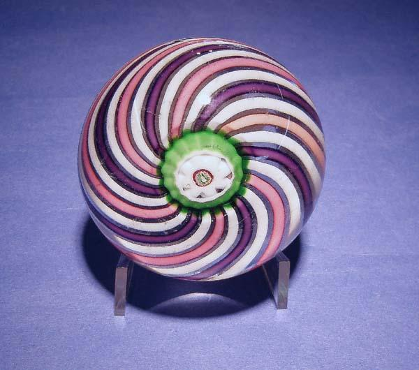 Very Unusual Clichy THREE Color Swirl Paperweight, c 1850