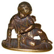 REDUCED Antique Victorian Statuette: A Sweet Little Boy With Drums And Soldiers! c Late 19th C
