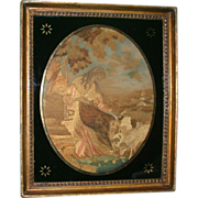 REDUCED Antique Silk and Needlework Scene, c 1815, English, Estate of Mary Pickford