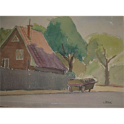 "REDUCED Original Watercolor - ""The Pushcart"" - by Viennese Secessionist, Listed Arti"