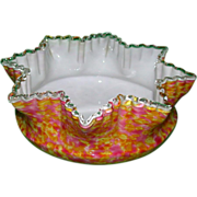 REDUCED English Victorian End Of Day Cased Spatter Glass Bowl - Stunning!