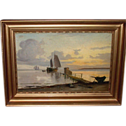 REDUCED Antique Oil Painting On Wooden Board, Sailing Boats Near Shore, c1900