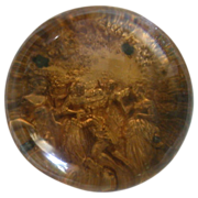 REDUCED Very Unusual Large Antique Pinchbeck Paperweight, Gold Color With Victorian Scene, c .